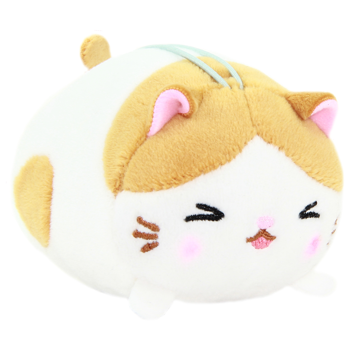 Mochikko Neko Nyanzu White Cat Plush Mini Strap Amuse Super Soft Japan