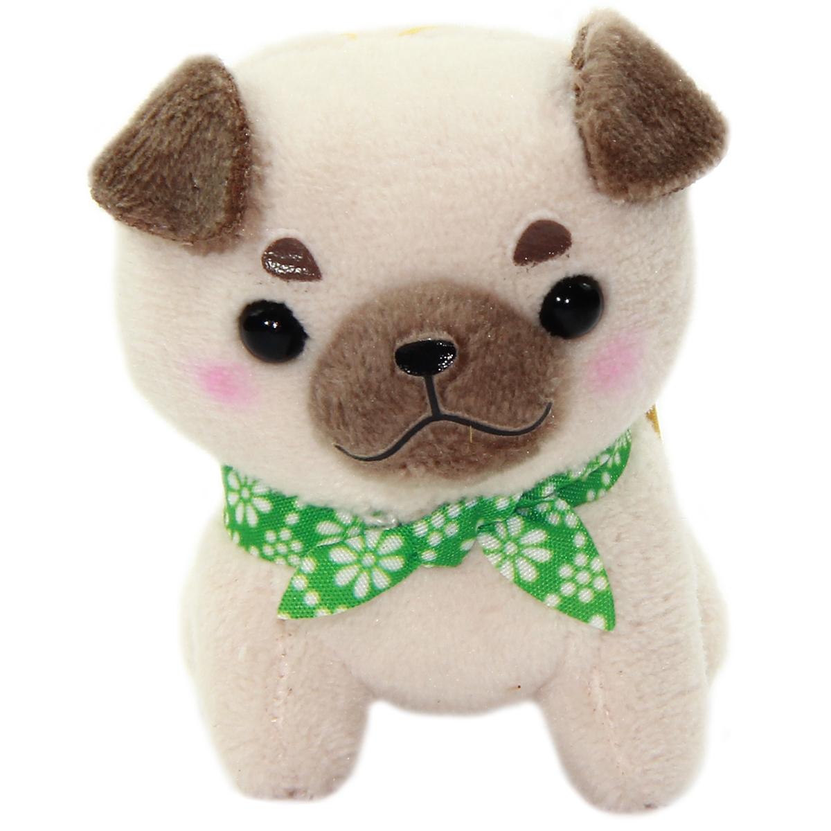 Amuse Dog Plushie, Mameshiba San Kyodai Pugbee Beige Small Plushie Strap 3 Inches