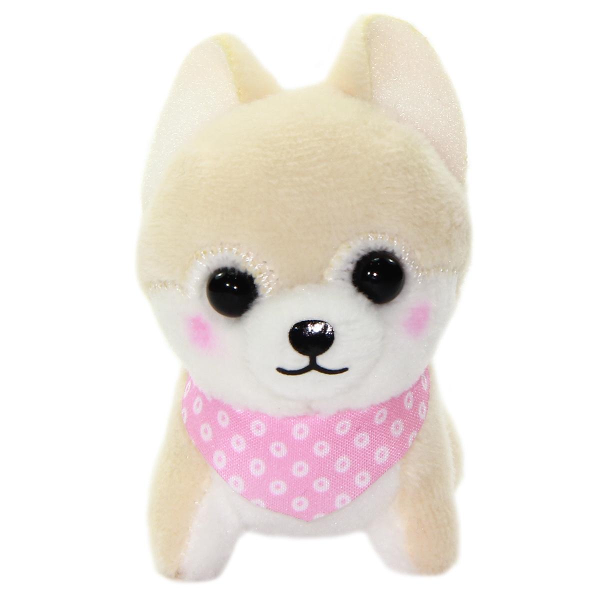 Amuse Dog Plushie, Mameshiba San Kyodai Sasuke Beige Small Plushie Strap 3 Inches