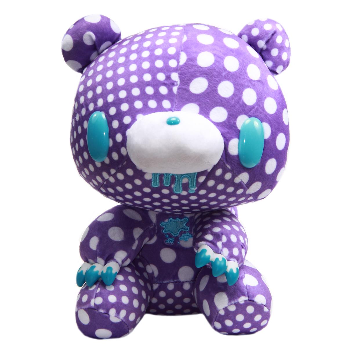 Taito Textillic Crazy Dots Gloomy Bear Plush Doll Purple White GP #556 12 Inches