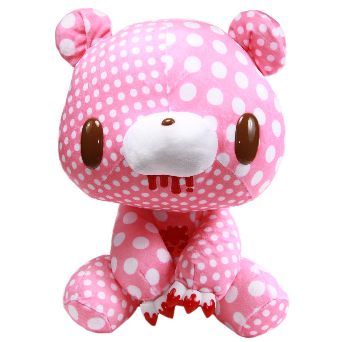 Taito Textillic Crazy Dots Gloomy Bear Plush Doll Pink White GP #556 12 Inches
