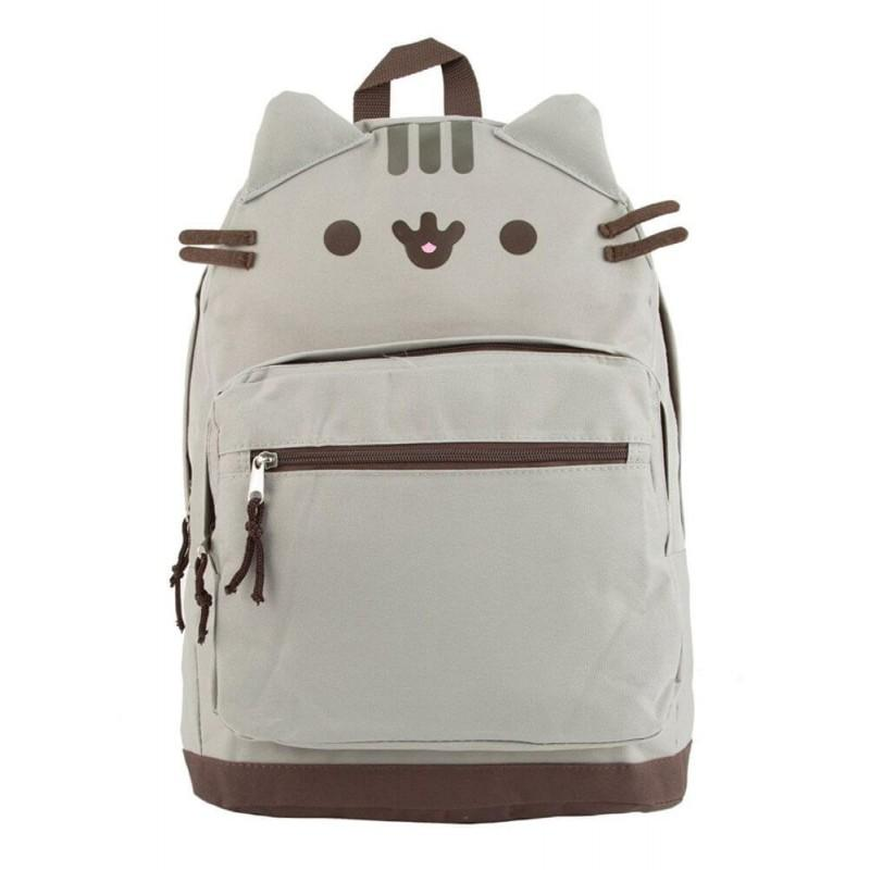 Pusheen Cat Face Backpack Book Bag Grey