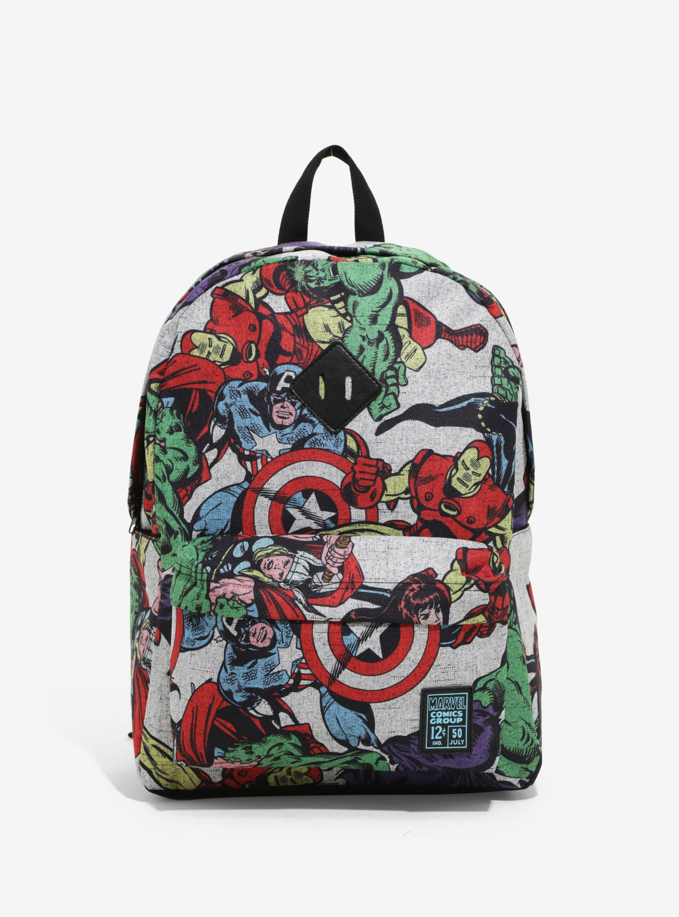 Marvel Avengers Print Backpack Book Bag Hulk, Black Widow, Iron Man, Captain America
