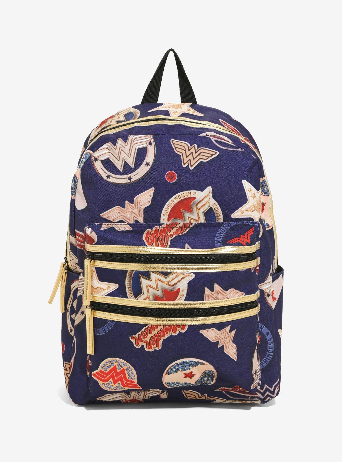 DC Comics Wonder Woman Double Zipper Pocket Backpack Book Bag