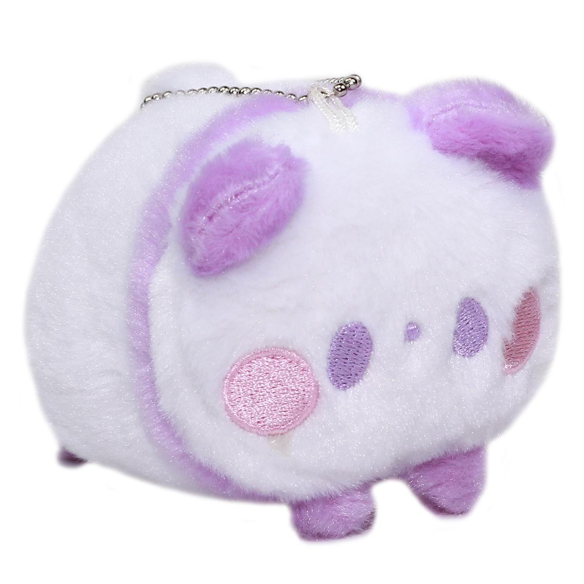 Super Soft Mochii Cute Panda Plush Keychain Purple White 3.5