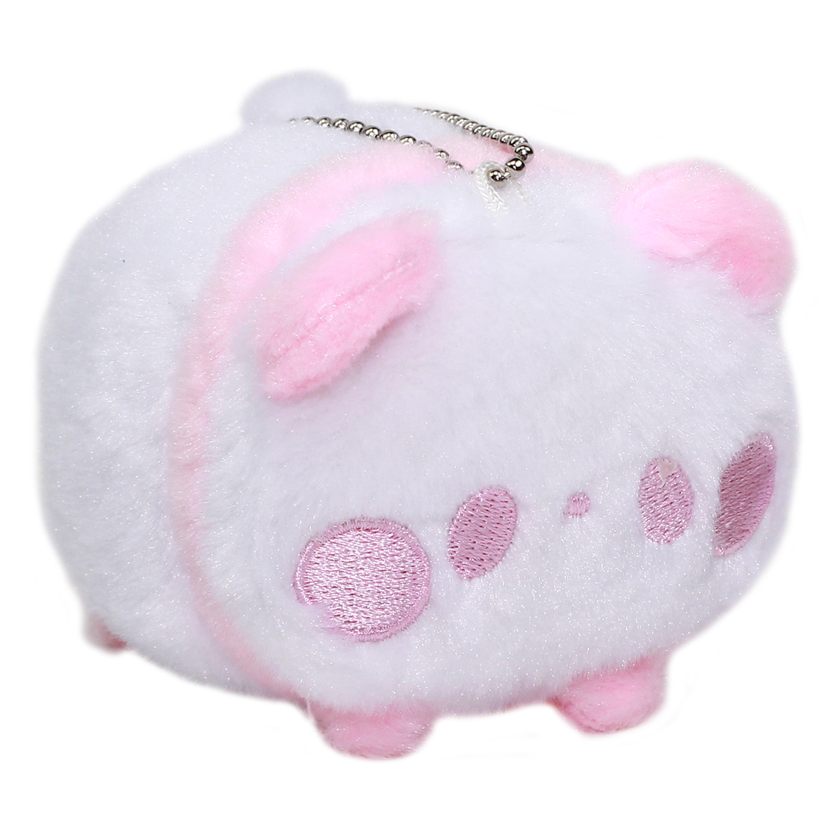 Super Soft Mochii Cute Panda Plush Keychain Pink White 3.5