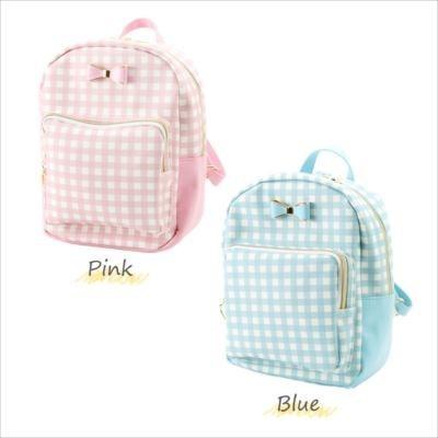 Gingham Check Mini Backpack Mint Blue White