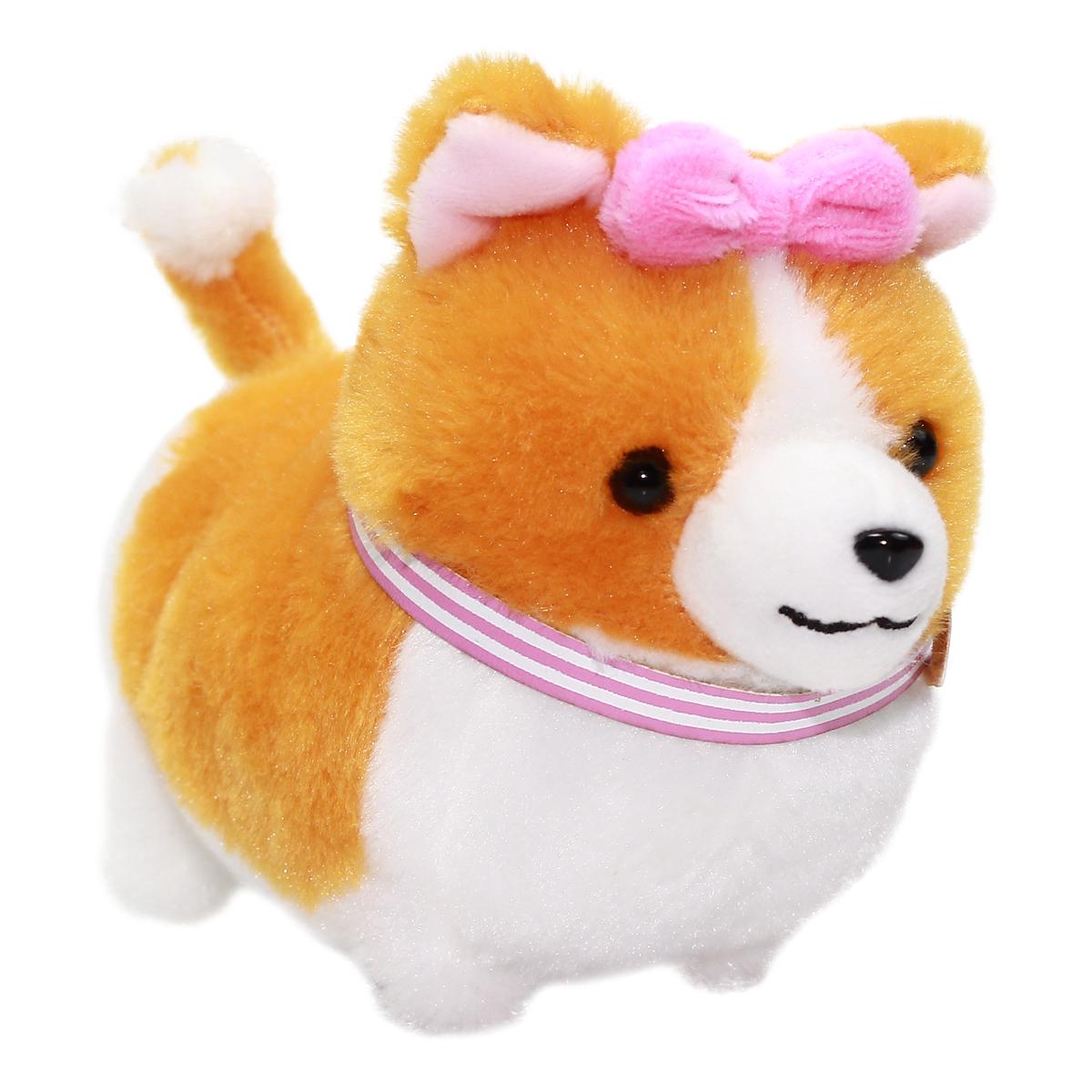 Amuse Ichi Ni no Girl Corgi Plush Small Dog Keychain Orange Pink Collar 4 Inches