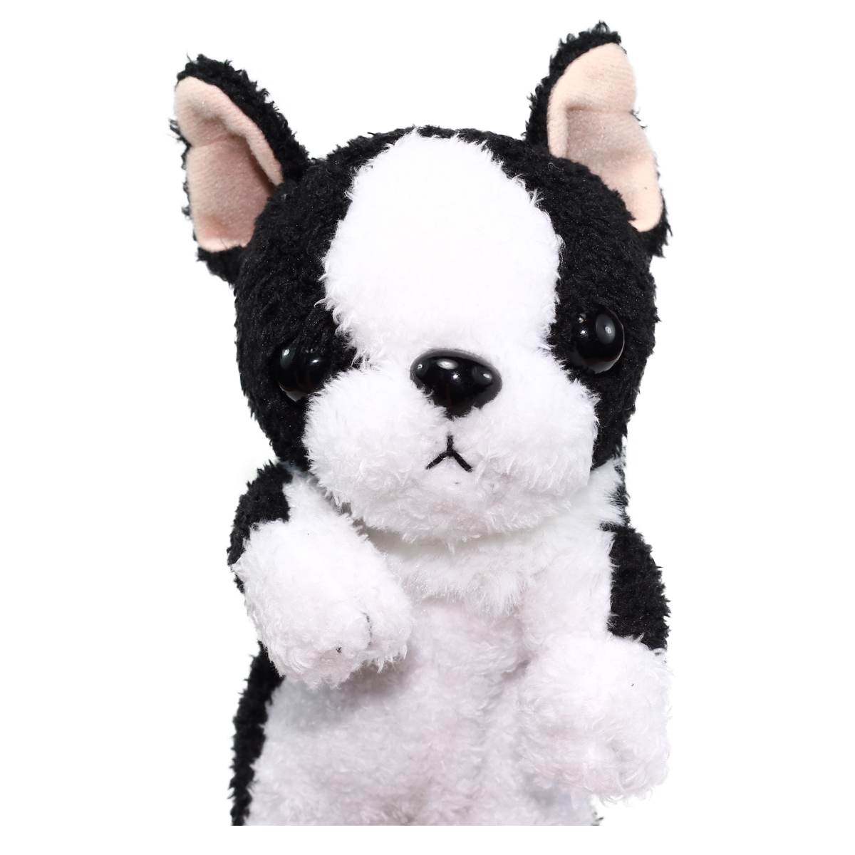 Dog Pencil Case Pouch Stuffed Animal Back To School Collection Fluffy Black/ White Boston Terrier Plush 10 Inches