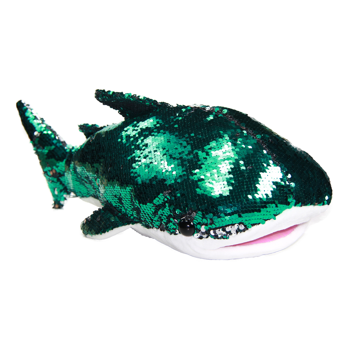 Shark Plush Doll, Flip Sequin, Big Size, Green Silver 17 Inches