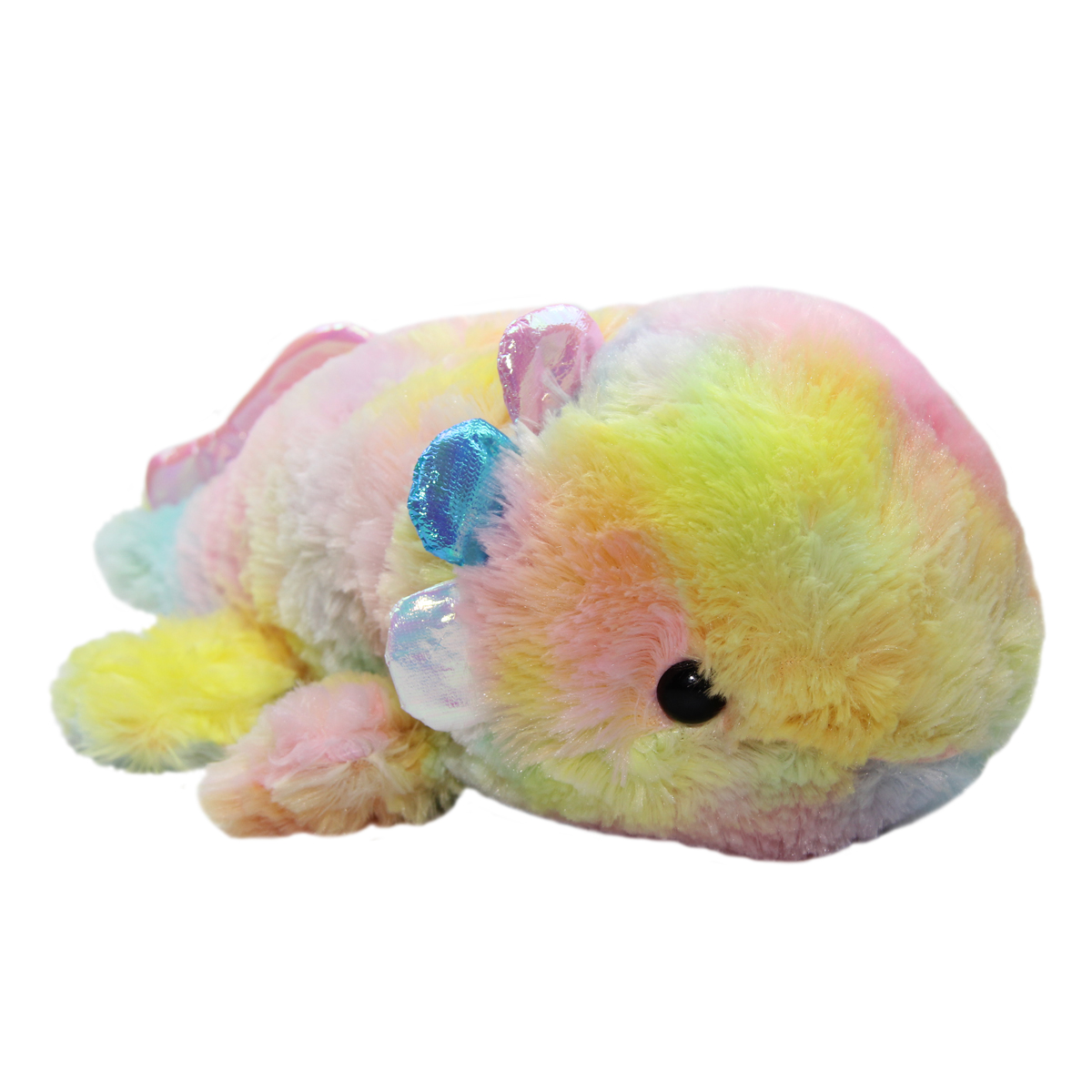 Mochi Puni Wooper Looper Colorful Axolotl Plushie, Rainbow 13 Inches Jumbo