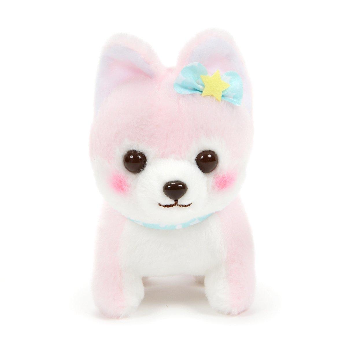 Amuse Dog Plushie, Mameshiba San Kyodai Funwari Yume no Kuni Koume Pastel Pink 5 Inches Standard Size