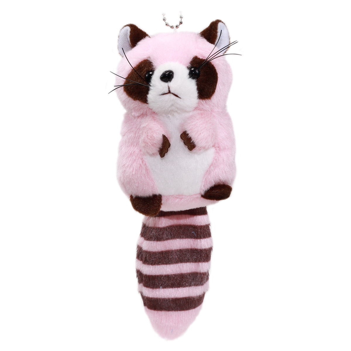 Colorful Racoon Plush Collection Keychain Size Pink 4 Inches