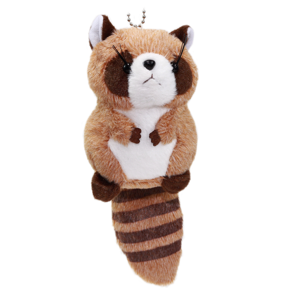 Colorful Racoon Plush Collection Keychain Size Brown 4 Inches