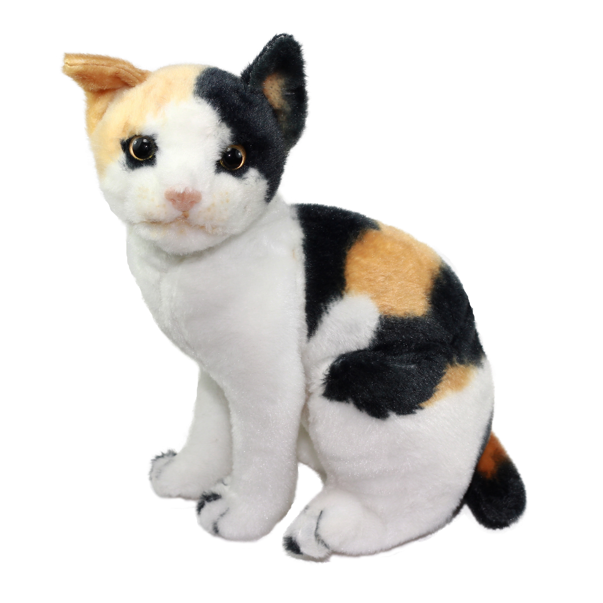 Real Cat Plush Collection Stuffed Animal Toy White/Beige/Black Mix Japanese Bobtail Short Hair Cat 10 Inches