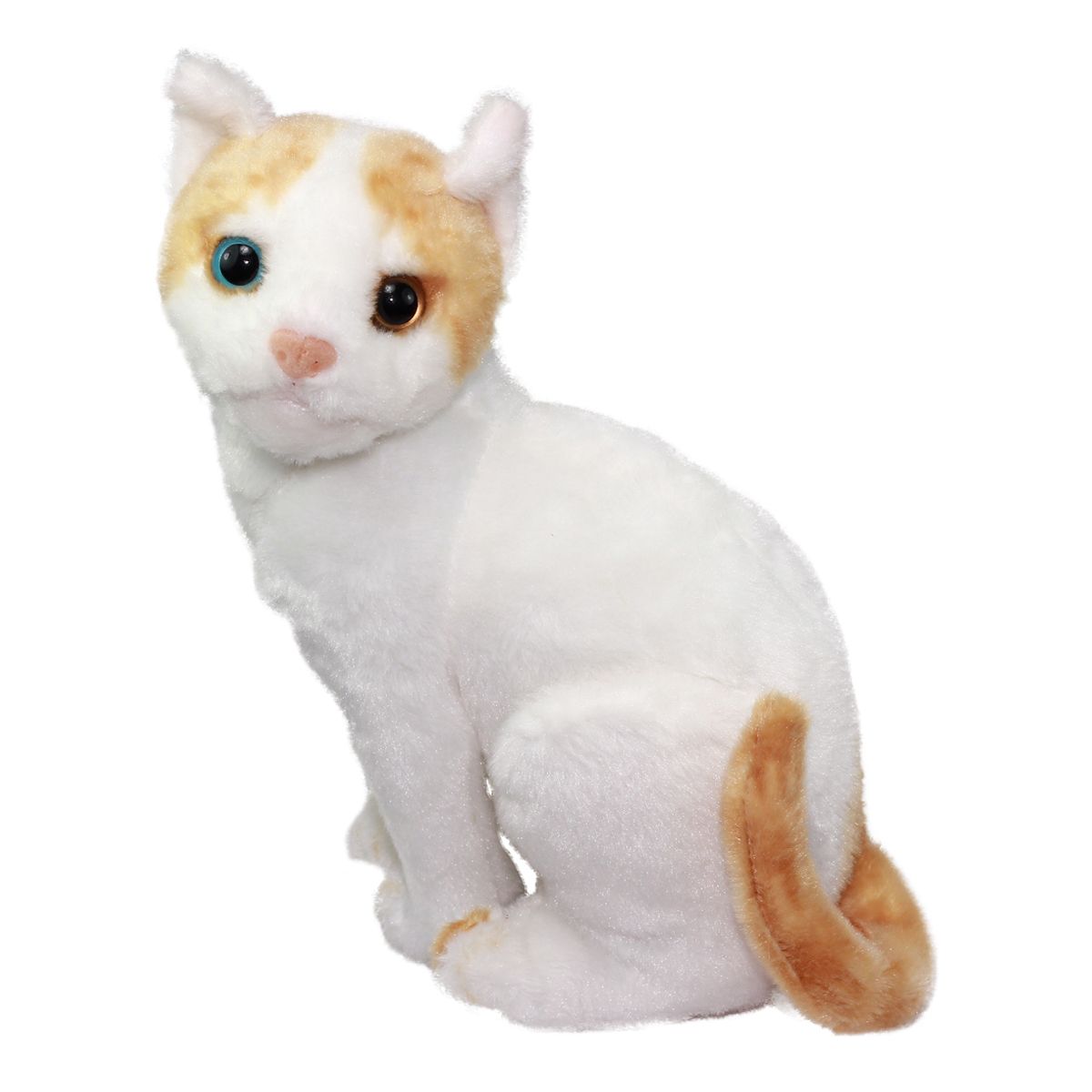 Real Cat Plush Collection Stuffed Animal Toy White/Beige Exotic Short Hair Cat 10 Inches