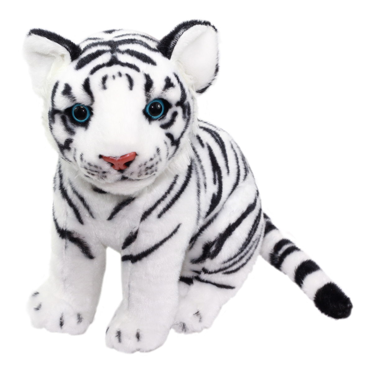 Real Animal Plush Collection Stuffed Animal Toy White Tiger 10 Inches